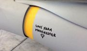 """Officials for the Royal Air Force confirmed on May 25, 2017, that images of bomb scrawled with """"Love for Manchester"""" are authentic. (Image: Facebook, Senator James McGrath, Assistant Minister to the Prime Minister, Assistant Minister for Regulatory Reform and LNP Senator for Queensland.)"""