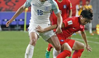 England's Kieran Dowell, left, fights for the ball against South Korea's HA Seung-un during the Group A match in the FIFA U-20 World Cup Korea 2017 at Suwon World Cup Stadium in Suwon, South Korea, Friday, May 26, 2017. (Kim In-chul/Yonhap via AP)