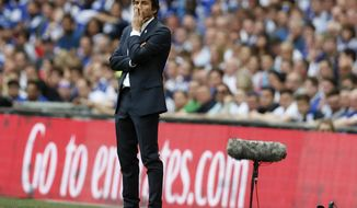 Chelsea team manager Antonio Conte stands on the sideline during the English FA Cup final soccer match between Arsenal and Chelsea at Wembley stadium in London, Saturday, May 27, 2017. (AP Photo/Kirsty Wigglesworth)