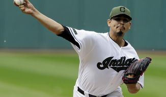 Cleveland Indians starting pitcher Carlos Carrasco delivers in the first inning of a baseball game against the Oakland Athletics, Monday, May 29, 2017, in Cleveland. (AP Photo/Tony Dejak)