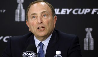 NHL Commissioner Gary Bettman speaks to the media before Game 1 of the NHL hockey Stanley Cup Finals between the Pittsburgh Penguins and the Nashville Predators, Monday, May 29, 2017, in Pittsburgh. (AP Photo/Gene J. Puskar)