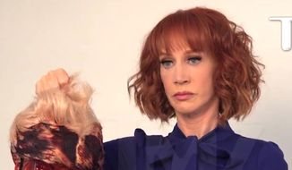Comedian Kathy Griffin holds a fake decapitated head representing President Donald Trump. (Image: TMZ video screenshot)