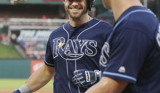 Tampa Bay Rays Evan Longoria, left, smiles after hitting a sacrifice fly scoring teammate Corey Dickerson, right, during the third inning of a baseball game against the Texas Rangers in Arlington, Texas, Tuesday, May 30, 2017. (AP Photo/LM Otero)