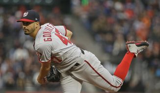 Washington Nationals starting pitcher Gio Gonzalez throws against the San Francisco Giants in the first inning of a baseball game Tuesday, May 30, 2017, in San Francisco. (AP Photo/Eric Risberg)