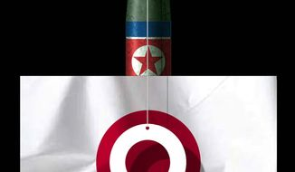 Illustration on the North Korean missile threat to Japan by Alexander Hunter/The Washington Times