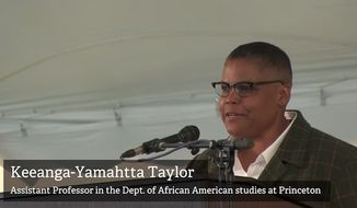 """Keeanga-Yamahtta Taylor, a Princeton University instructor who called President Trump a racist, sexist """"megalomaniac"""" during a recent commencement address, has canceled two public talks this week, claiming a Fox News report on her speech led to death threats. (YouTube/@Hampshire College TV)"""