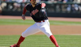 Cleveland Indians starting pitcher Corey Kluber delivers in the first inning of a baseball game against the Oakland Athletics, Thursday, June 1, 2017, in Cleveland. (AP Photo/Tony Dejak)