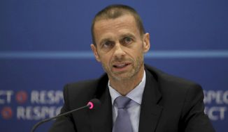UEFA President Aleksander Ceferin speaks during the press conference at a hotel in Cardiff, Wales Thursday June 1, 2017. The Welsh capital will host the women's and men's Champions League finals in the next 3 days. (Nick Potts/PA via AP)