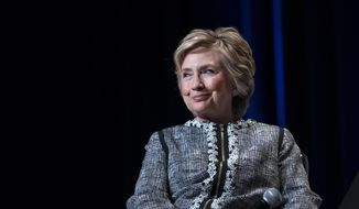 Former Secretary of State Hillary Clinton pauses while speaking during the Book Expo event in New York Thursday, June 1, 2017. (AP Photo/Craig Ruttle)