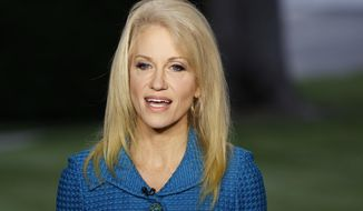 In this May 10, 2017 file photo, Kellyanne Conway, senior adviser to President Donald Trump, speaks during an interview outside the White House, in Washington. (AP Photo/Evan Vucci, File)