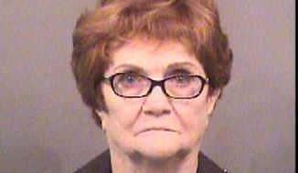 This booking photo released by Sedgwick County Sheriff's Office shows Lila Mae Bryan of Mesquite, Texas. The 82-year-old Texas woman was arrested and jailed for about two hours after she scuffled with a Kansas airport security officer who confiscated an oversized liquid from her carry-on bag, early Wednesday, May 31, 2017, authorities said. (Sedgwick County Sheriff's Office via AP)