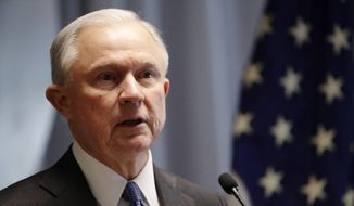 In this April 28, 2017, file photo, Attorney General Jeff Sessions speaks in Central Islip, N.Y. (AP Photo/Frank Franklin II, File)