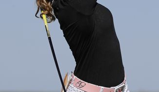 Paula Creamer tees off on the fifth hole during the second round of the ShopRite LPGA Classic golf tournament Saturday, June 3, 2017, in Galloway Township, N.J. (AP Photo/Frank Franklin II)