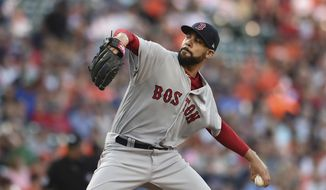 Boston Red Sox pitcher David Price throws against the Baltimore Orioles in the first inning of a baseball game, Saturday, June 3, 2017, in Baltimore.(AP Photo/Gail Burton)