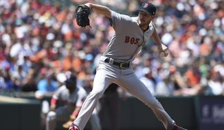 Boston Red Sox pitcher Chris Sale delivers against the Baltimore Orioles in the first inning of a baseball game, Sunday, June 4, 2017, in Baltimore. (AP Photo/Gail Burton)