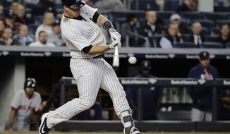 New York Yankees' Gary Sanchez hits a three-run home run during the third inning of the team's baseball game against the Boston Red Sox on Thursday, June 8, 2017, in New York. (AP Photo/Frank Franklin II)