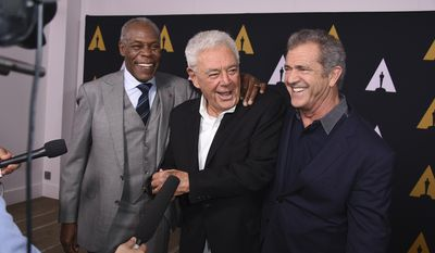 Danny Glover, from left, Richard Donner and Mel Gibson arrive at the Richard Donner Tribute on Wednesday, June 7, 2017 in Beverly Hills, Calif. (Photo by Jordan Strauss/Invision/AP)
