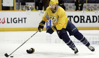 Nashville Predators left wing Colin Wilson skates a drill during practice Sunday, June 4, 2017, in Nashville, Tenn. The Predators and Pittsburgh Penguins are scheduled to play Game 4 in the NHL hockey Stanley Cup Finals Monday. The Penguins lead the series 2-1. (AP Photo/Mark Humphrey)