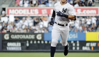 New York Yankees' Aaron Judge runs the bases after hitting a home run during the first inning of a baseball game against the Baltimore Orioles, Saturday, June 10, 2017, in New York. (AP Photo/Frank Franklin II)