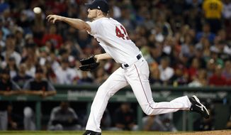 Boston Red Sox's Chris Sale pitches during the sixth inning of the team's baseball game against the Detroit Tigers, Saturday, June 10, 2017, in Boston. (AP Photo/Michael Dwyer)