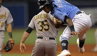 Oakland Athletics reliever Daniel Coulombe tags out Tampa Bay Rays' Tim Beckham after he was caught in a run down between first and second base during the sixth inning of a baseball game, Sunday, June 11, 2017, in St. Petersburg, Fla. (AP Photo/Steve Nesius)