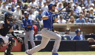 Kansas City Royals' Eric Hosmer watches his two-run home run during the fifth inning of a baseball game against the San Diego Padres, Sunday, June 11, 2017, in San Diego. (AP Photo/Gregory Bull)