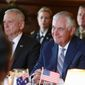 """""""Clearly the level of spending that the State Department has been undertaking ... is simply not sustainable,"""" said Secretary of State Rex Tillerson (right). He is to appear at a Senate hearing Tuesday. (Associated Press)"""