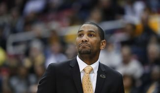 Milwaukee head coach LaVall Jordan watches against the Northern Kentucky in the second half of the Horizon League NCAA college basketball tournament championship game in Detroit, Tuesday, March 7, 2017. (AP Photo/Paul Sancya) **FILE**