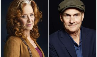 FILE - In this combination photo, singer Bonnie Raitt, left, appears in New York on March 7, 2016 and singer James Taylor poses in New York on May 13, 2015. file photo. Raitt and Taylor are teaming up this summer for concerts that include the ultimate in Americana, some of the country's most storied baseball parks. (Photo by  Drew Gurian, left, and Dan Hallman/Invision/AP, File)