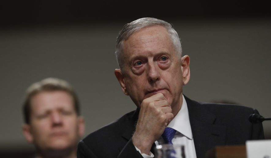 Defense Secretary Jim Mattis listens on Capitol Hill in Washington, Tuesday June 13, 2017, while testifying before the Senate Armed Services Committee hearing on the Pentagon's budget. (AP Photo/Jacquelyn Martin) ** FILE **