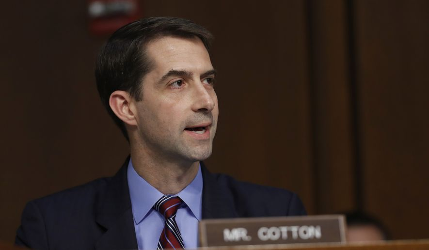 Sen. Tom Cotton, R-Ark., questions Attorney General Jeff Sessions on Capitol Hill in Washington, Tuesday, June 13, 2017, as he testifies before the Senate Intelligence Committee hearing about his role in the firing of James Comey, his Russian contacts during the campaign and his decision to recuse from an investigation into possible ties between Moscow and associates of President Donald Trump. (AP Photo/Alex Brandon)