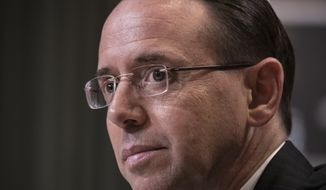Deputy Attorney General Rod Rosenstein listens while testifying on Capitol Hill in Washington, Tuesday, June 13, 2017, before a Senate Appropriations subcommittee. Rosenstein said he's seen no basis for firing Robert Mueller, the former FBI director he appointed as special counsel to oversee an investigation into potential coordination between the Trump presidential campaign and Russia.  (AP Photo/J. Scott Applewhite)