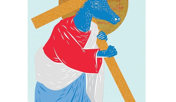 Illustrations on the implications of the religious Left's renewed participation in politics by Linas Garsys/The Washington Times