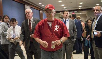 Rep. Joe Barton, R-Texas, with Rep. Pat Meehan, R-Pa., left, arrives on Capitol Hill in Washington, Wednesday, June 14, 2017, for a security briefing after a gunman opened fire at a congressional baseball practice wounding House Majority Whip Steve Scalise of La., and others, in Alexandria, Va. (AP Photo/J. Scott Applewhite)