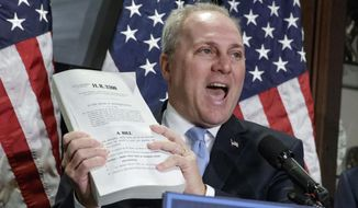 FILE - In this March 8, 2017 file photo, House Majority Whip Steve Scalise of La. speaks on Capitol Hill in Washington. Scalise was shot Wednesday, June 14, 2017, at a congressional baseball practice in Alexandria, Va., congressional officials say. (AP Photo/J. Scott Applewhite, File)