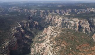 FILE - This May 8, 2017 file photo, shows an aerial view of Arch Canyon within Bears Ears National Monument revealing the vast landscape of the 1.35 million acres in southeastern Utah protected by President Barack Obama on Dec. 28, 2016. Interior Secretary Ryan Zinke's recommendation to downsize the new Bears Ears National Monument in Utah was applauded by the state's top Republican leaders but marked a stinging setback for a coalition of Western tribes that pushed for protection of lands they consider sacred. (Francisco Kjolseth /The Salt Lake Tribune via AP, File)