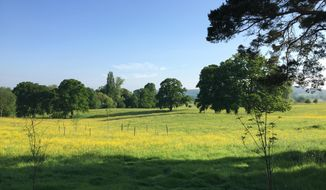 This May 24, 2017 photo shows the countryside around Dymock, England, where the American poet Robert Frost lived for a time and which influenced some of his best-known work. (AP Photo/Jerry Harmer)