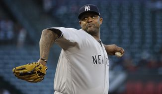 New York Yankees starting pitcher CC Sabathia throws against the Los Angeles Angels during the first inning of a baseball game, Tuesday, June 13, 2017, in Anaheim, Calif. (AP Photo/Jae C. Hong)