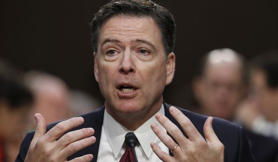 In this June 8, 2017, file photo, former FBI Director James Comey testifies on Capitol Hill in Washington. (AP Photo/Alex Brandon, File)