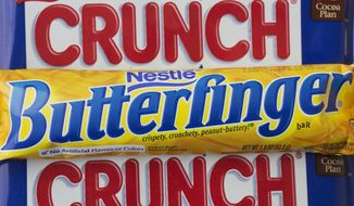 In this Wednesday, June 1, 2016, file photo, a Nestle Butterfinger and Crunch candy bars are arranged for a photo, in New York. On Thursday, June 15, 2017, Nestle said its considering a sale of its U.S. candy business. The unit includes brands like Butterfinger, Baby Ruth, 100 Grand, Skinny Cow and Raisinets. (AP Photo/Mark Lennihan, File)