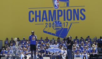 Kevin Durant speaks during the Golden State Warriors NBA championship rally Thursday, June 15, 2017, in Oakland, Calif. Oakland is celebrating its second championship in the past three years. (AP Photo/Eric Risberg)