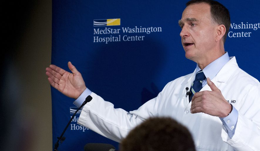 MedStar Washington Hospital Center Director of Trauma Dr. Jack Sava speaks during a news conference in Washington, Friday, June 16, 2017, about the condition of House Majority Whip Steve Scalise of La. who was shot in Alexandria, Va., Wednesday, during a congressional baseball practice. (AP Photo/Jose Luis Magana)