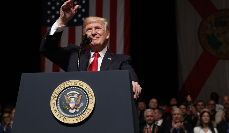 President Donald Trump speaks about Cuba policy, Friday, June 16, 2017, in Miami. The president announced changes to Obama-era Cuba policy, and challenged the Castro government to negotiate a better deal.  (AP Photo/Evan Vucci)