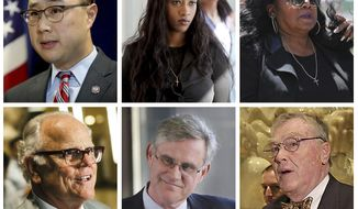 This combination of file photos show key figures in the manslaughter trial of St. Anthony police officer Jeronimo Yanez in the July 2016 death of Philando Castile. Top row from left are Ramsey County Attorney John Choi; Diamond Reynolds, the girlfriend of Philando Castile, who live streamed his shooting on Facebook; Philando Castile's mother Valerie Castile; and bottom row from left are defense attorney Earl Gray; defense attorney Paul Engh; and defense attorney Thomas Kelly. On Friday, June 16, 2017, Yanez was acquitted in the killing of Castile, a black motorist, that drew widespread attention when video of the shooting's aftermath was streamed live. (David Joles, David Joles, Shari L. Gross, Elizabeth Flores/Star Tribune and Evan Frost/Minnesota Public Radio via AP)