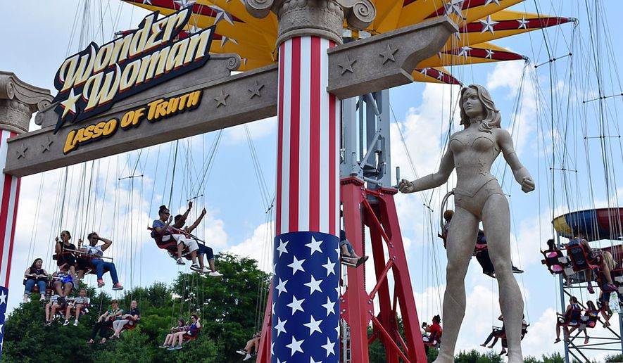 Wonder Woman: Lasso of Truth ride is a new extreme swing ride at Six Flags America. (Photograph by Joseph Szadkowski / The Washington Times)