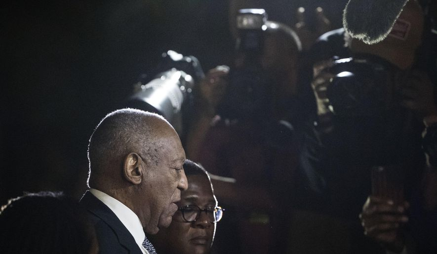 Bill Cosby speaks with members of the media as he departs from the Montgomery County Courthouse during his sexual assault trial in Norristown, Pa., Friday, June 16, 2017. (AP Photo/Matt Rourke)