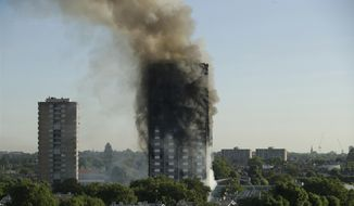 """FILE- In this June 14, 2017 file photo, smoke rises from a 24-story high-rise apartment building on fire in London. Fire safety experts say despite that outcome, """"stay put"""" is still the best advice if fire breaks out in a different part of a high rise building. The recommend sheltering in place as long as the building has proper fire suppression protections, like a sprinkler system, fireproof doors and flame-resistant construction materials.( AP Photo/Matt Dunham, File)"""