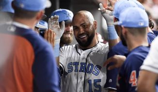 Houston Astros' Carlos Beltran (15) celebrates his two-run home run off Boston Red Sox starting pitcher Rick Porcello during the third inning of a baseball game, Saturday, June 17, 2017, in Houston. (AP Photo/Eric Christian Smith)