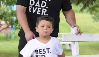 "Roman Bellis, 4, and his dad, Dana Bellis, Millersburg, Pa., wear ""Best. Dad. Ever."" and ""Best. Kid. Ever."" shirts at the 67th annual Father's Day Breakfast at Valley View Park in Valley View, Pa., Sunday, June 18, 2017. The breakfast is sponsored by the St. Andrew's United Methodist Church's men's Bible class. (Jacqueline Dormer/Republican-Herald via AP)"