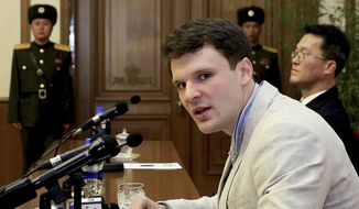 American student Otto Warmbier gave a video apology in Pyongyang, North Korea, on Feb. 29, 2016. (Associated Press/File)